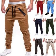 Мужские повседневные брюки для бега, однотонные тонкие брюки-карго, мужские брюки с несколькими карманами, новая мужская спортивная одежда, хип-хоп штаны-шаровары, узкие брюки