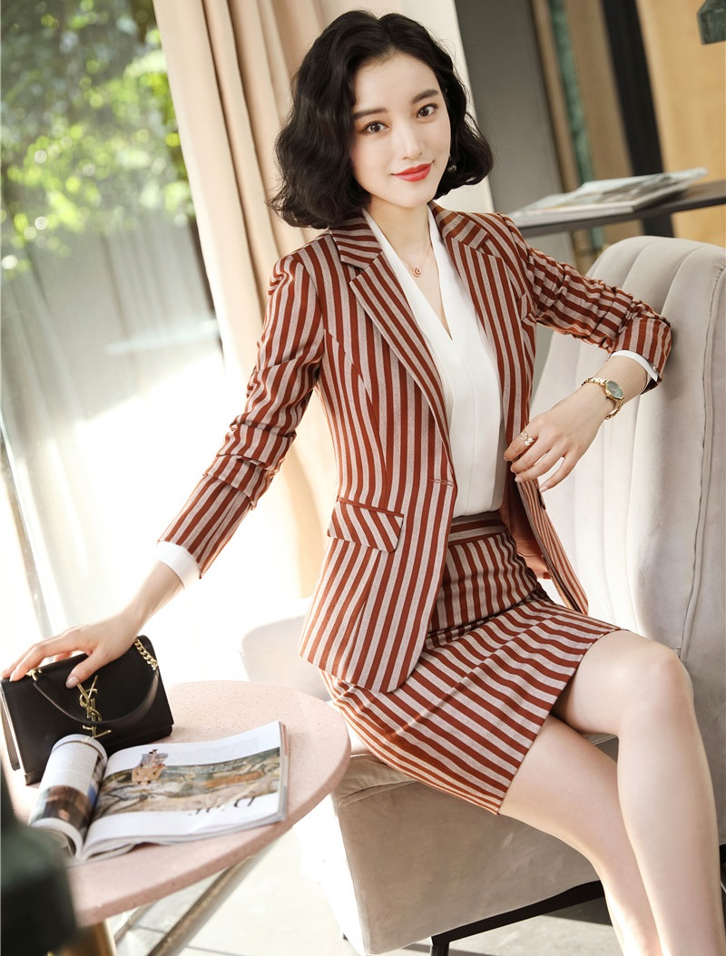 Autumn Winter Fashion Striped Formal Professional Business Suits With Skirt And Tops Ladies Office Blazers Set Women Work Wear