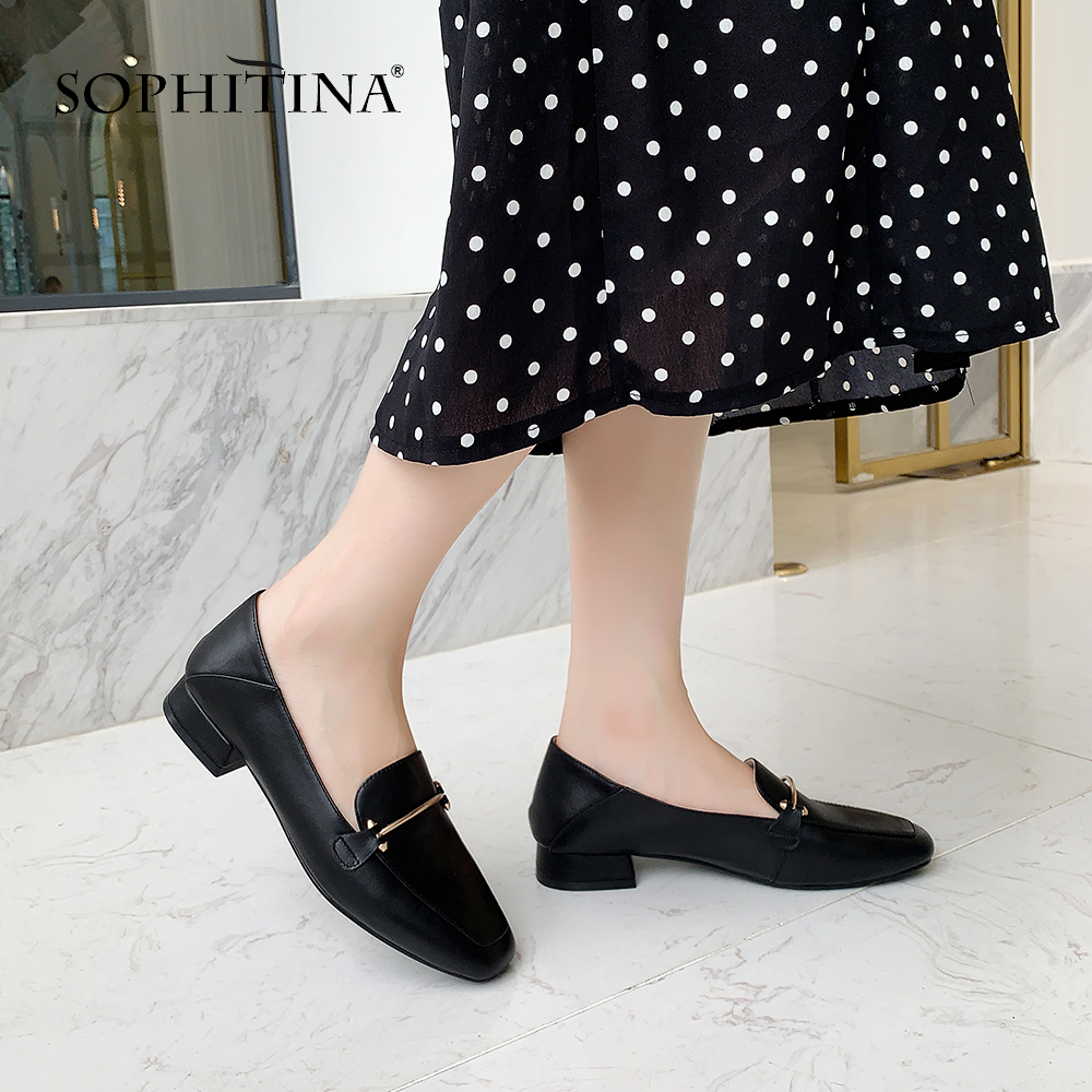 SOPHITINA Office Women's New Flats Square Toe Basic Metal Decoration Shallow Shoes High Quality Cow Leather Fashion Flats SO325