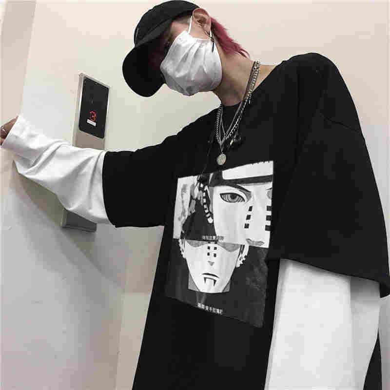 NiceMix 日本漫画 Tシャツナルト男性 Tシャツカジュアルかわいいアミン Tシャツヒップホッププリントシャツ秋のハイストリートトップス tシャツ O-n