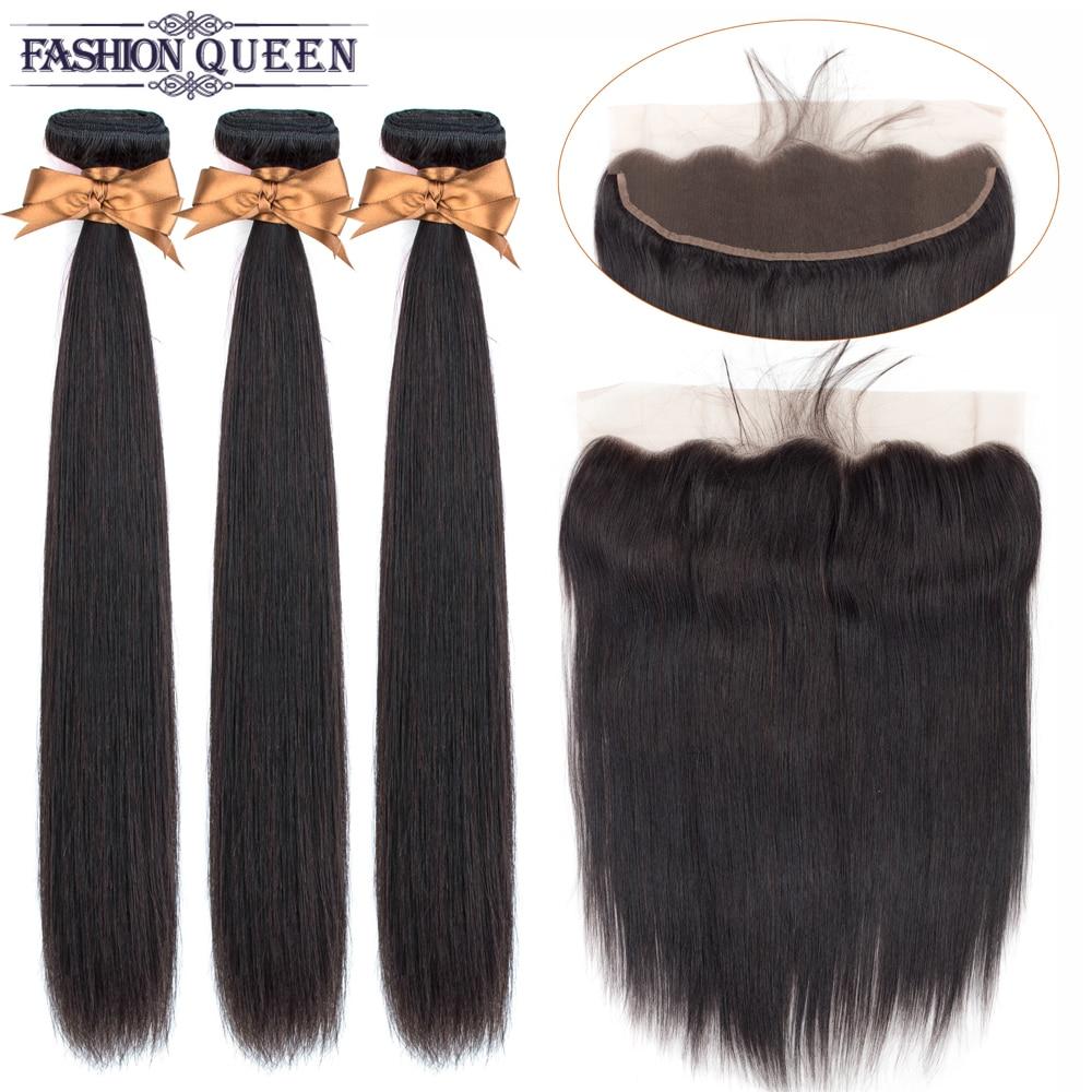 Human Hair Bundles With Closure Peruvian Straight Hair Bundles With Closure 13×4 Lace Frontal Non- Remy Fashion Queen