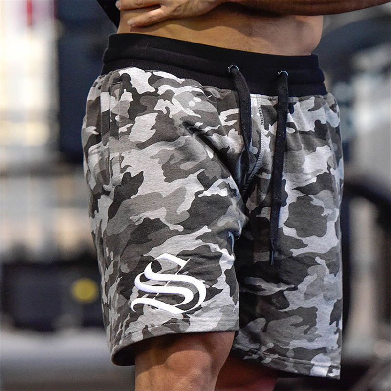 2019 Men's   Shorts   Summer Fashion Military Trunks French Terry Cotton Casual Hip Hop Male   Short   White Camouflage