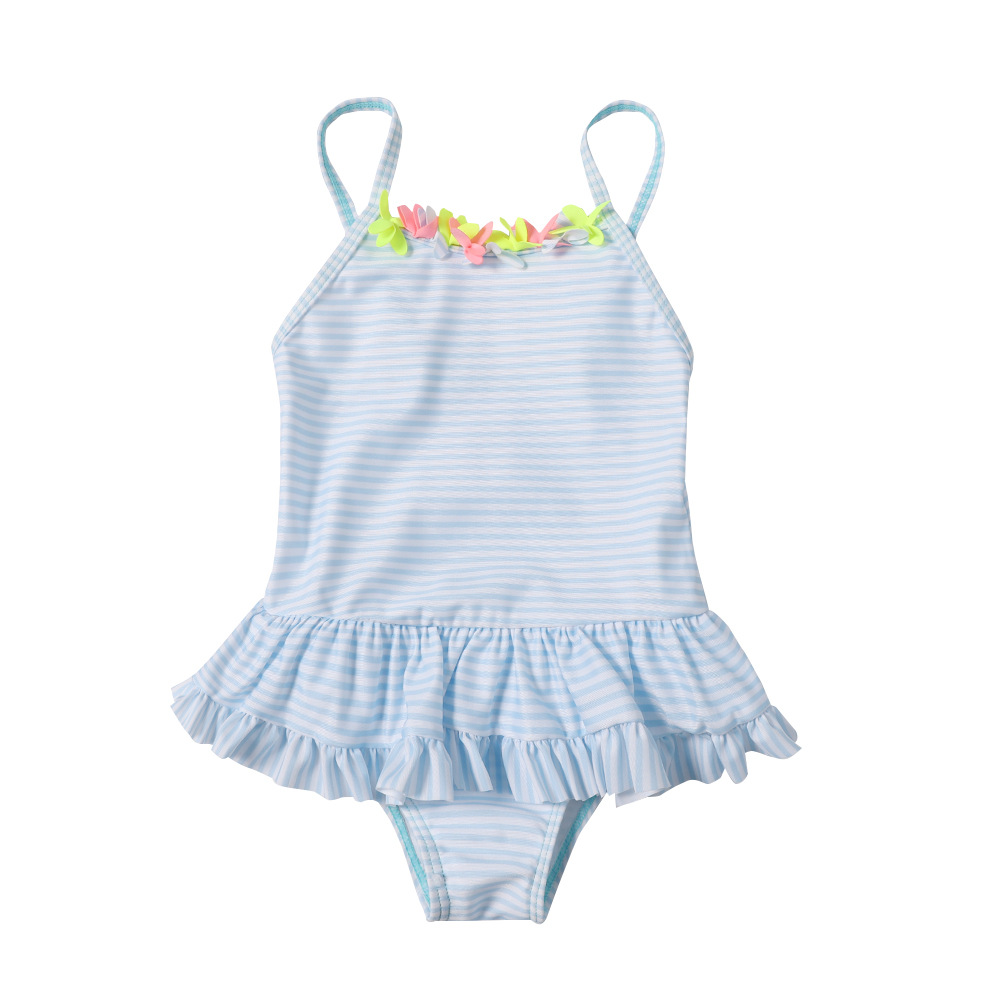 Europe And America New Style One-piece Swimsuit For Children Women's Stripes Girls Hipster Flounced Hot Springs CHILDREN'S Swims
