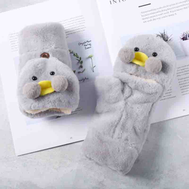 Women Cute Cartoon Duck Half Finger With Lid Touch Screen Mittens Female Student Winter Warm Plus Plush Thick Full Finger Gloves