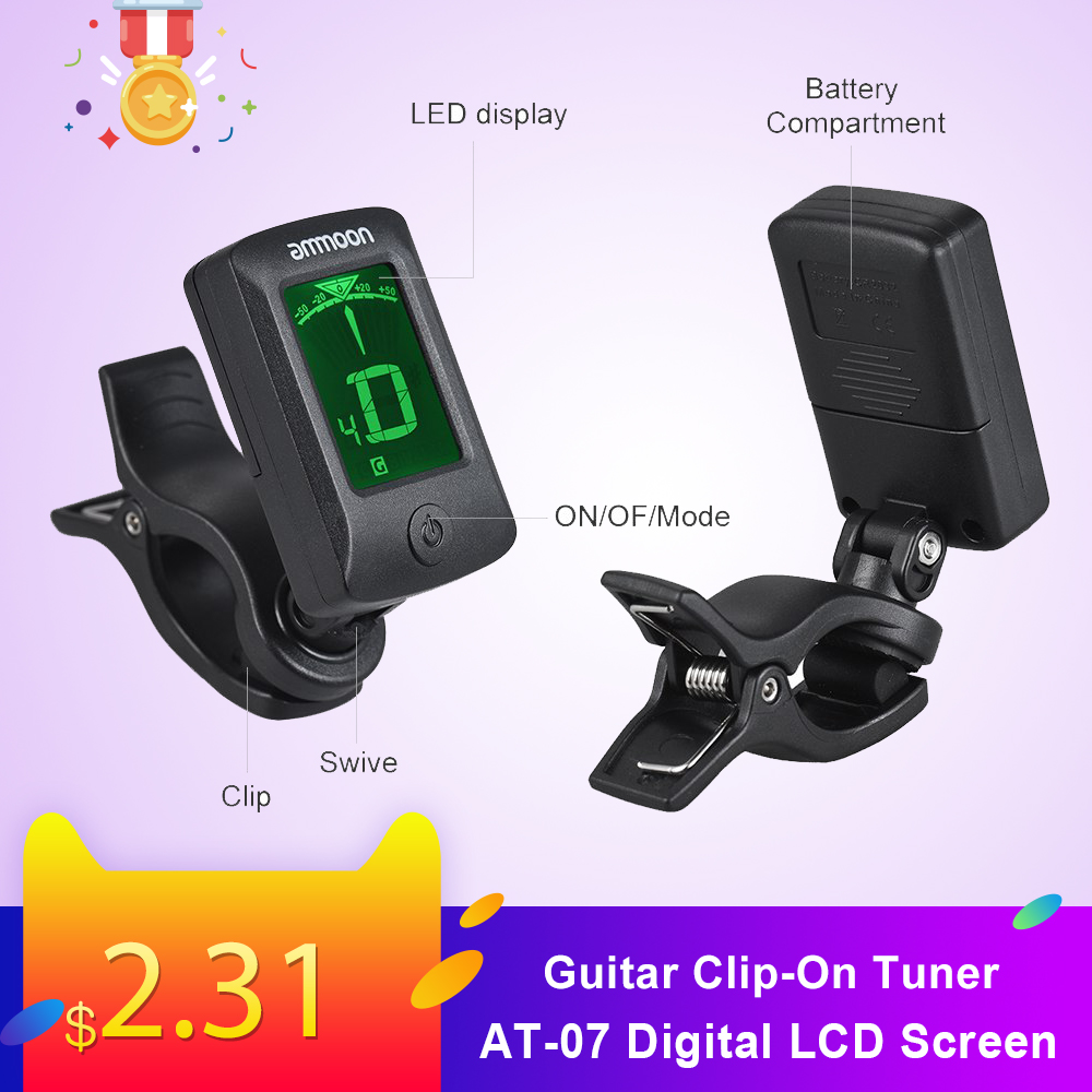 Ammoon AT-07 Digital Electronic Clip-On Tuner LCD Screen For Guitar Chromatic Bass Ukulele C/ D Violin Guitarra Accessories