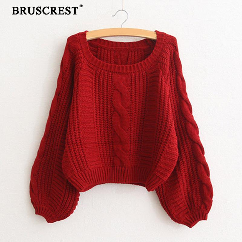 Pullover Red Sweater Women Lantern Sleeve Sweater Ladies Loose Streetwear Knit Cable Sweater Korean Fashion Women Tops 2020