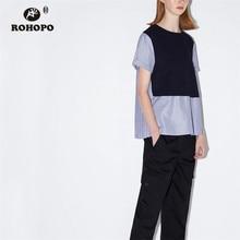 ROHOPO Patchwork Round Collar Pleated Hem Straight Blouse Thin Vertical Thin Stripe Chic Ladies Top Splice Shirt #9760 chevron stripe panel vertical striped blouse