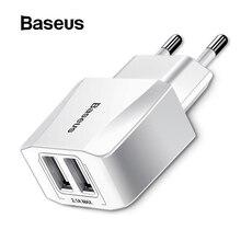 Baseus портативное двойное USB зарядное устройство 5 В 2.1A для iPhone X 8 7 6 зарядное устройство с европейской вилкой быстрое настенное зарядное устройство для samsung S8 Note 8 Xiaomi Mi 8