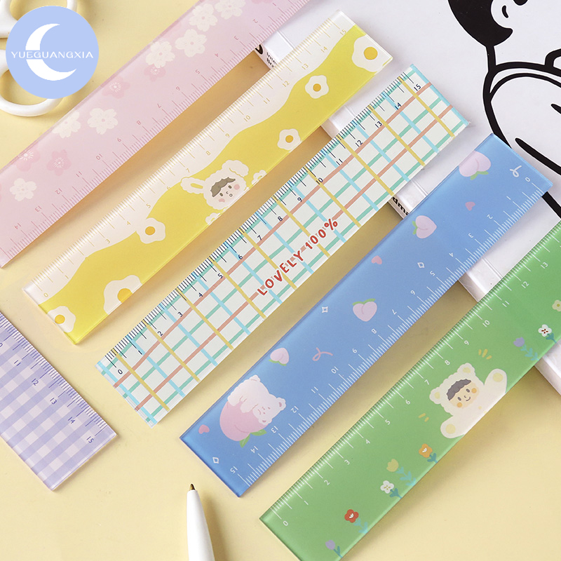YueGuangXia 8 Designs Colorful Lovely Easy Memo Pads Ruler Multifunction DIY Drawing Rulers Double-duty School Office Supplies