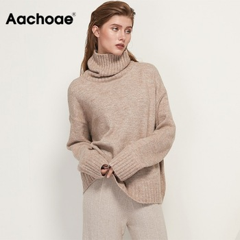 Aachoae Autumn Winter Women Knitted Turtleneck Cashmere Sweater 2020 Casual Basic Pullover Jumper Batwing Long Sleeve Loose Tops 1