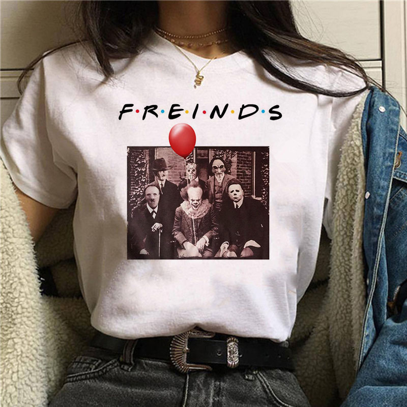2019 Horror Friends Pennywise Michael Myers Jason Voorhees Halloween Women T-Shirt Top Ouija T Shirt Camiseta Female Shirt