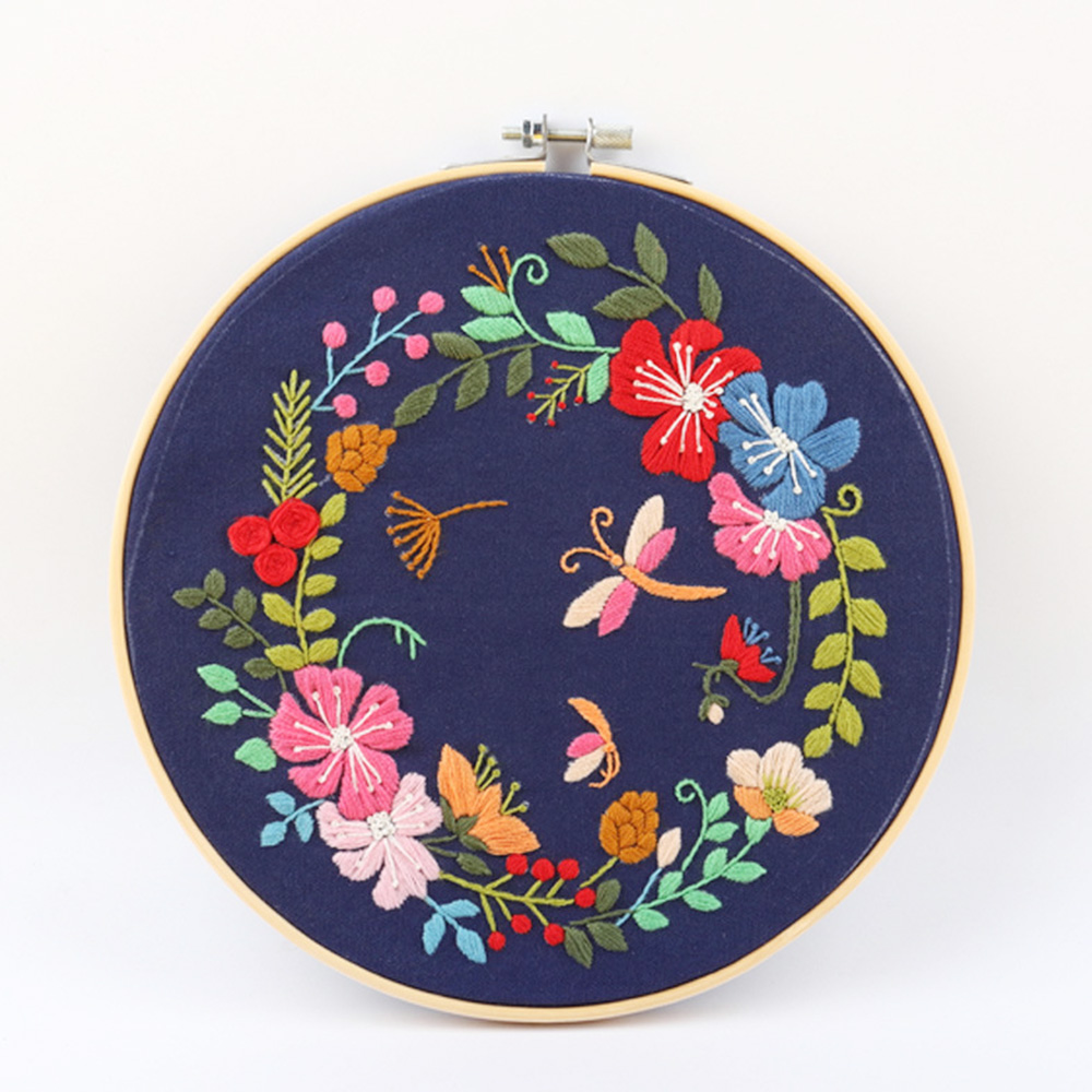 Circle Embroidery Kits DIY Art Sewing Craft Plant Series Cross Stitch Handcraft Home Hanging Painting Decor for Beginner