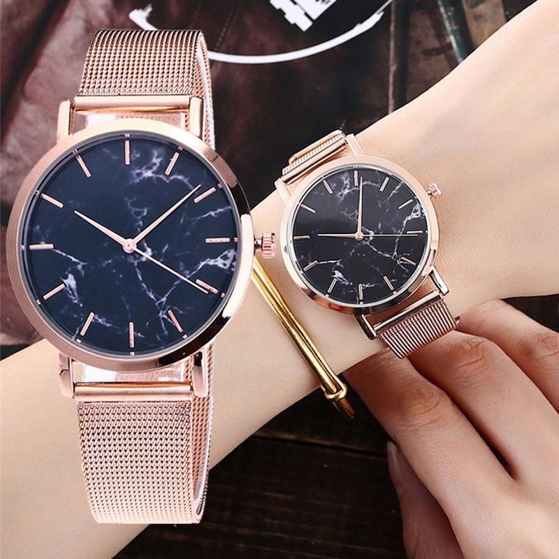 Women Marble Gold Silver Mesh Band Wrist Watch Digtal Quartz Watches Casual Fashion Rose Gold Wristwatch
