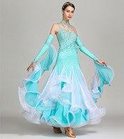 Women modern dance dress high grade ballroom dance clothes standard ball dancing performance costumes waltz diamonds dress S7024