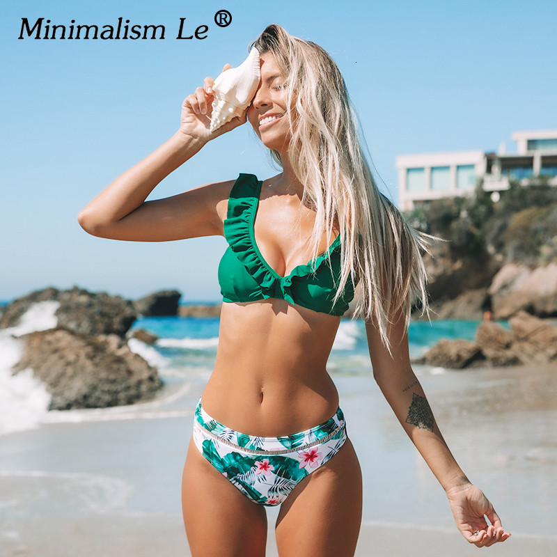 Sexy Ruffle Bikini Set Low Waist Swimsuit Women Floral Print Bikinis Dot Bathing Suit Summer Beachwear Female Biquini Mujer