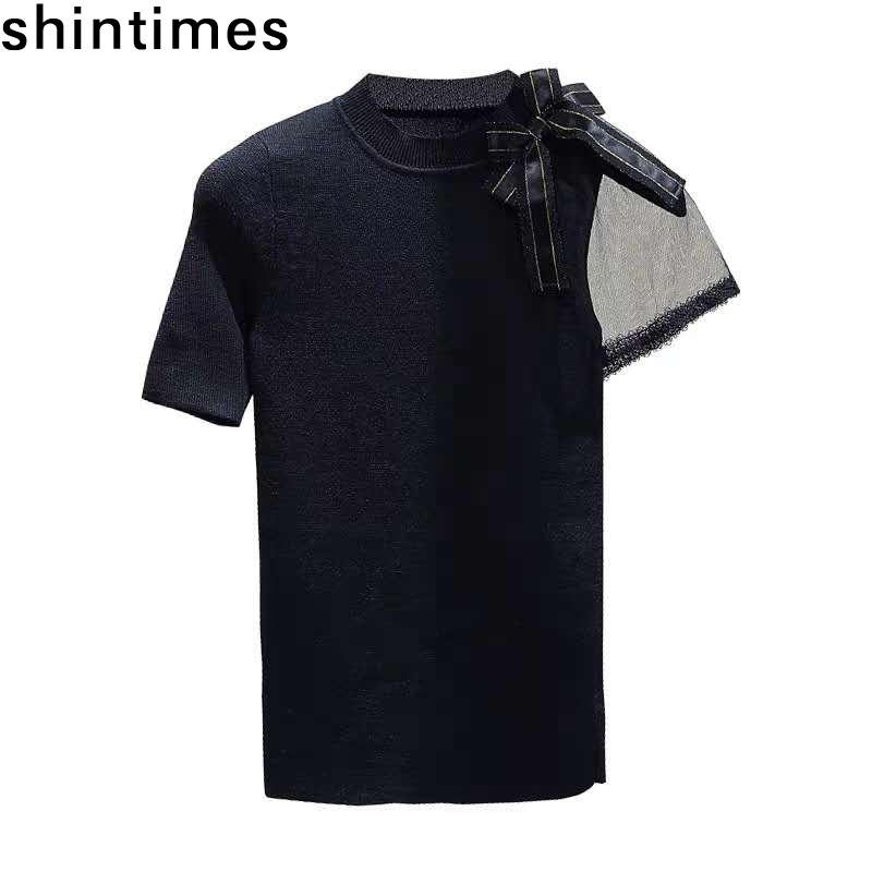 Shintimes Korean T Shirt Women Mesh Stitching Thin Short Sleeve Knitted T-Shirt Female 2019 Summer Soft Slimming Bow Black Tops