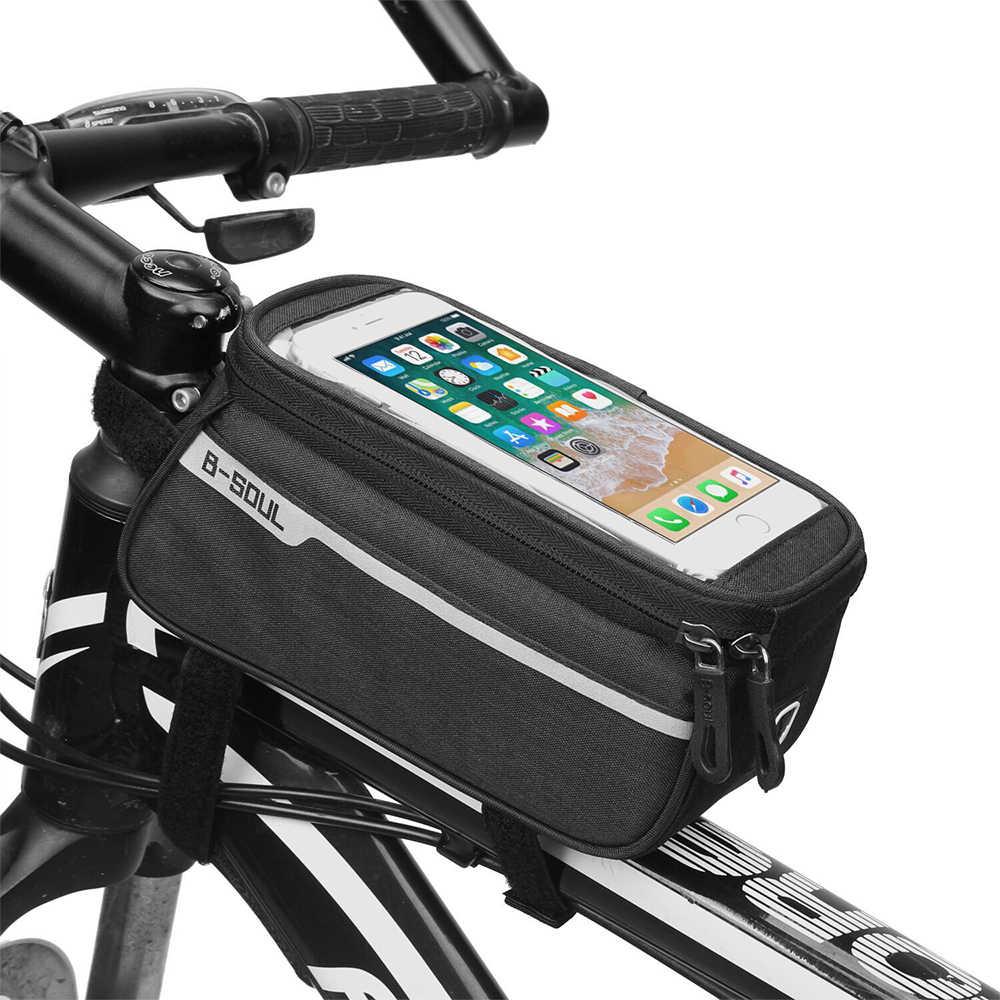 CALOFE 6 بوصة حامل هاتف دراجة دراجة الجبهة كيس أنبوب الدراجات اكسسوارات الإطار مقاوم للماء أكياس الجبهة خلية حقيبة هاتف محمول
