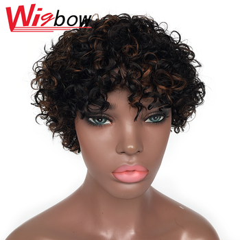Short Curly Human Hair Wigs Afro Kinky Curly Wig Human Hair Brazilian Remy Hair 180% Curly Human Hair Wigs For Women lekker brazilian human hair wig kinky curly hair bulk afro kinky curly human hair kinky wig short bob curly wigs human hair