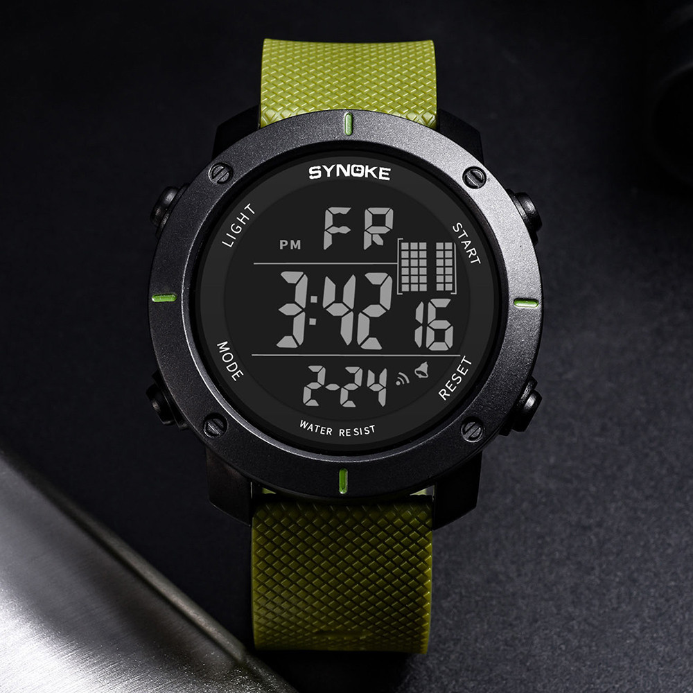 Digital Watch Men Multi-Function Buckle Wrist Watch LED Digital Double Action Watch Fashion Casual PU Plastic Strap Round Reloj