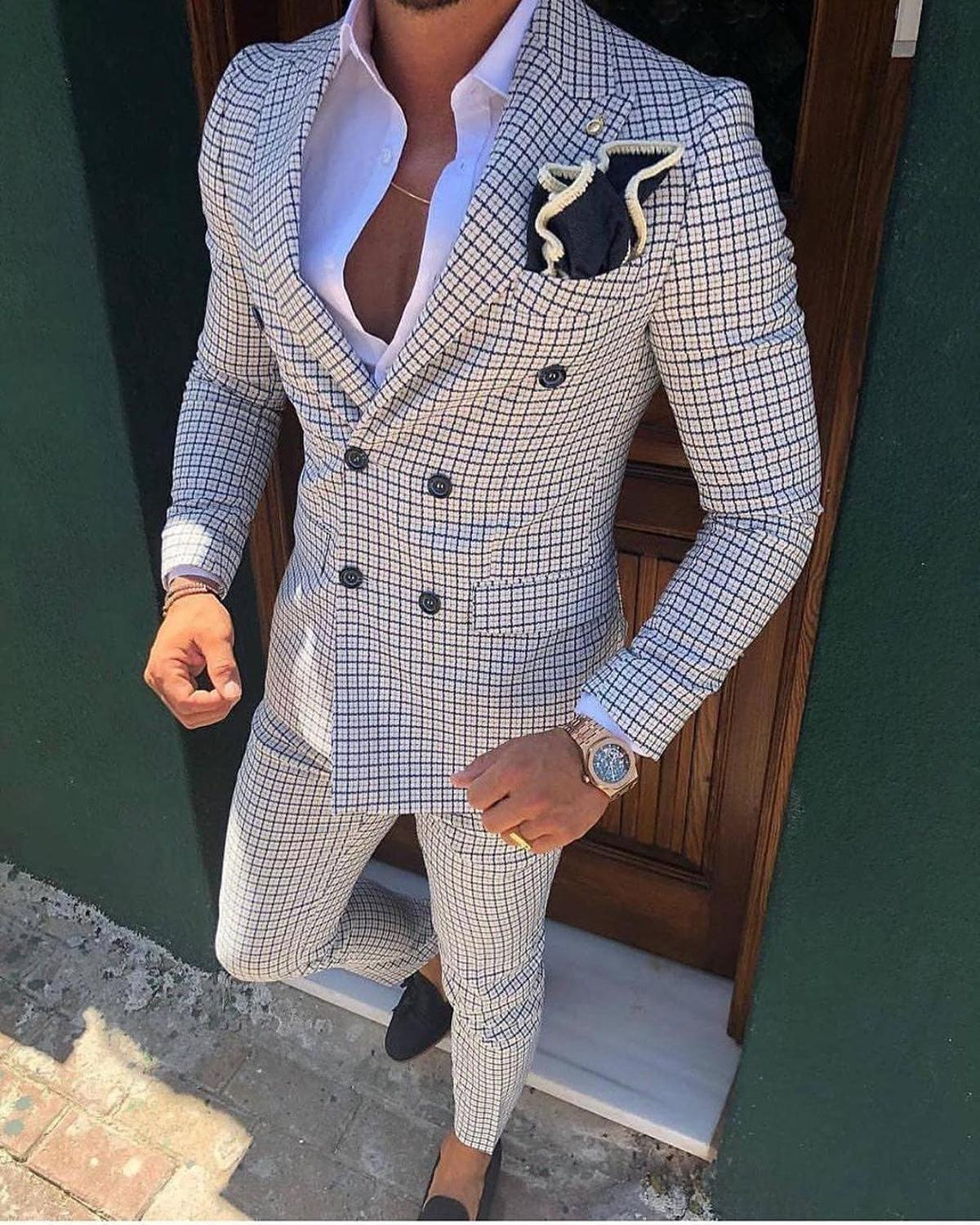 2 Pieces Mens Business Suits Double Breasted Regular Fit Notch Lapel Plaid Wool Prom Tuxedos For Wedding  Blazer Pants