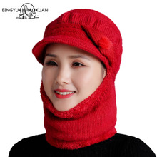 BINGYUANHAOXUAN Mothers Gift Rabbit Fur Knit Hat Face Neck Full Protection Female Winter Cold Autumn Outdoor Keep Warm Cap