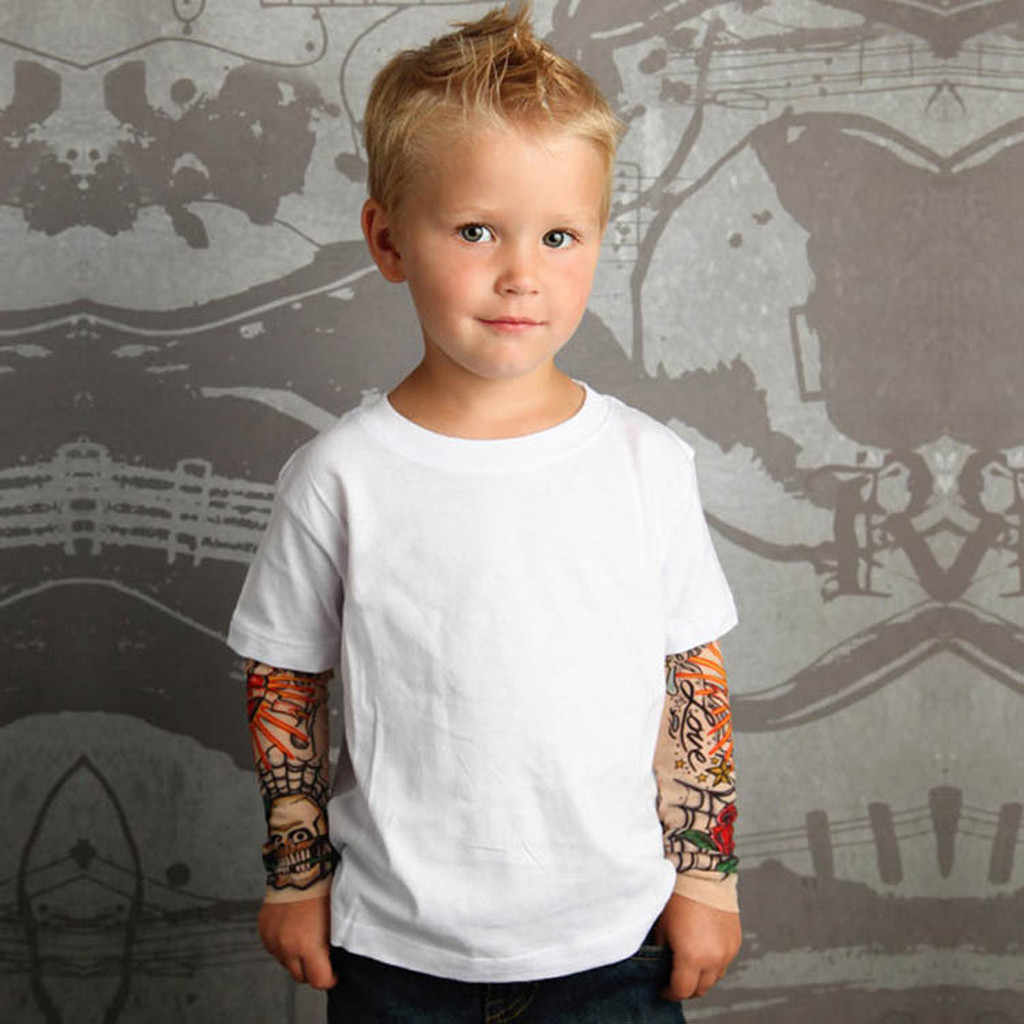 Criança Bebê de Crianças Meninos Camisa com Malha Tatuagem Manga Impresso T Tops