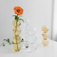 Glass Flower Vase Crystal Bubble Vase Transparent Hydroponic Plants Pots INS Style Flower Arrangement European Tabletop Decor