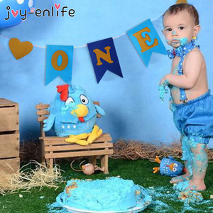 JOY-ENLIFE Baby First Birthday Blue Pink Chair Banner ONE Year 1st Birthday Party Decoration Boy Girl I AM ONE Bunting Supplies(China)