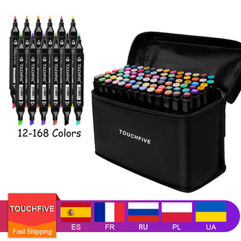 TouchFive Art Marker Set 12/24/36/48/80/168 Colors Alcohol Base Markers Manga Sketch Drawing Pen For Dual Headed Tip - discount item  37% OFF Pens, Pencils & Writing Supplies