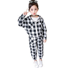 Get more info on the Girls Clothing Sets 2019 Children Active Hooded Jackets Plaid Coat And Pant Set Kids Clothing High Quality Sports Suit Tracksuit