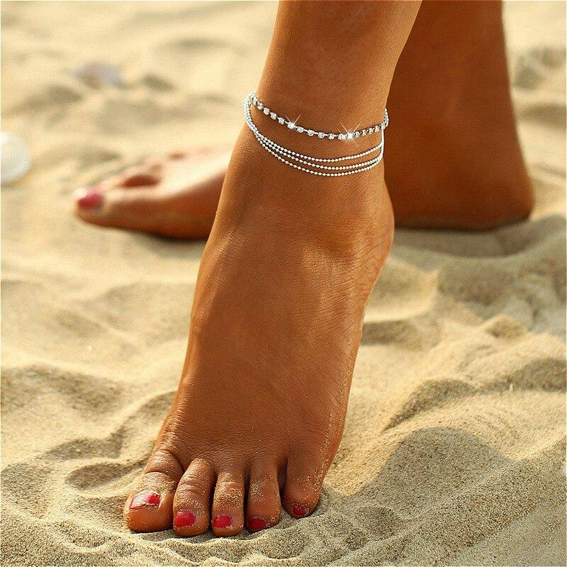 Tornozeleira na perna do pé, venda quente, estilo dourado, prata, pulseira da moda, nova moda, verão, praia, joia para os pés, 2020
