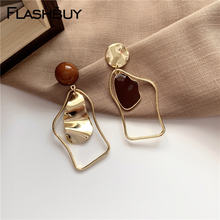 Золотые металлические серьги подвески flashbuy неправильной