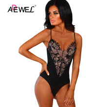 ADEWEL Sexy Black Lace Bodysuit Women Mesh Jumpsuits Romper Forever Flawless Black Lace Bodysuit Patchwork Ladies body mujer