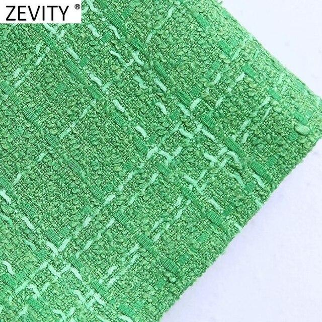 Zevity New Women Fashion Green Color Tweed Woolen Bermuda Shorts Skirts Lady Side Zipper Chic Casual Slim Pantalone Cortos P1024 4