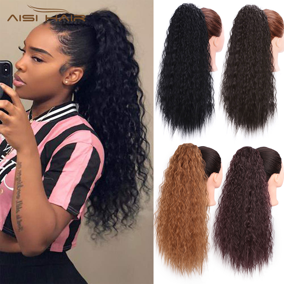 I's A Wig 22'' Long Curly Synthetic Drawstring Ponytail Extension Clip In Corn Pony Tail Hair Pieces Black/Brown Color For Women