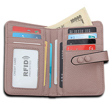 Retro Genuine Leather Women Purse Fashion Travel ID Card Cover Holder RFID Cards Organizer Top Layer Litchi Cowhide Wallet
