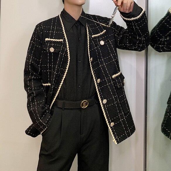 Autumn Loose Weaving Plaid Blazer Jacket Male Women Terno Masculino Streetwear Vintage Fashion Casual Suit Coat Outerwear Men