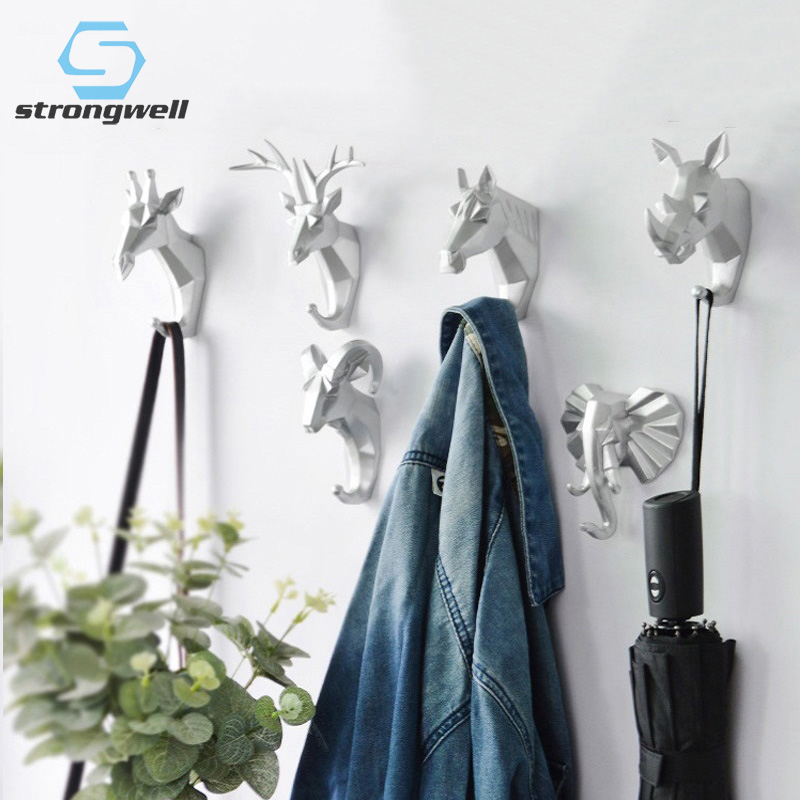Strongwell Nordic Animal Head Hook Key Hook Multi-Function Deer Head Punch-Free Coat Hook Bathroom Wall Hanging Decorative Hook