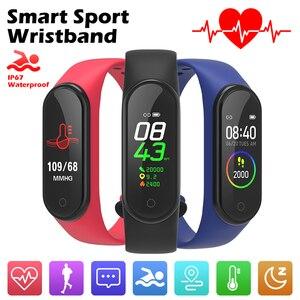 Image 1 - Bande intelligente 4 IP67 étanche 5 couleurs Bracelet intelligent écran de bande fréquence cardiaque Fitness musique Bluetooth moniteur de fréquence cardiaque