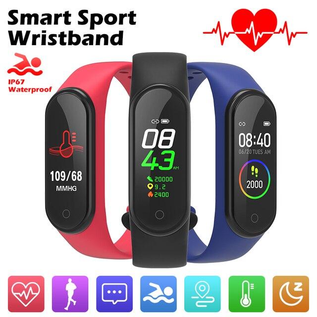 Bande intelligente 4 IP67 étanche 5 couleurs Bracelet intelligent écran de bande fréquence cardiaque Fitness musique Bluetooth moniteur de fréquence cardiaque