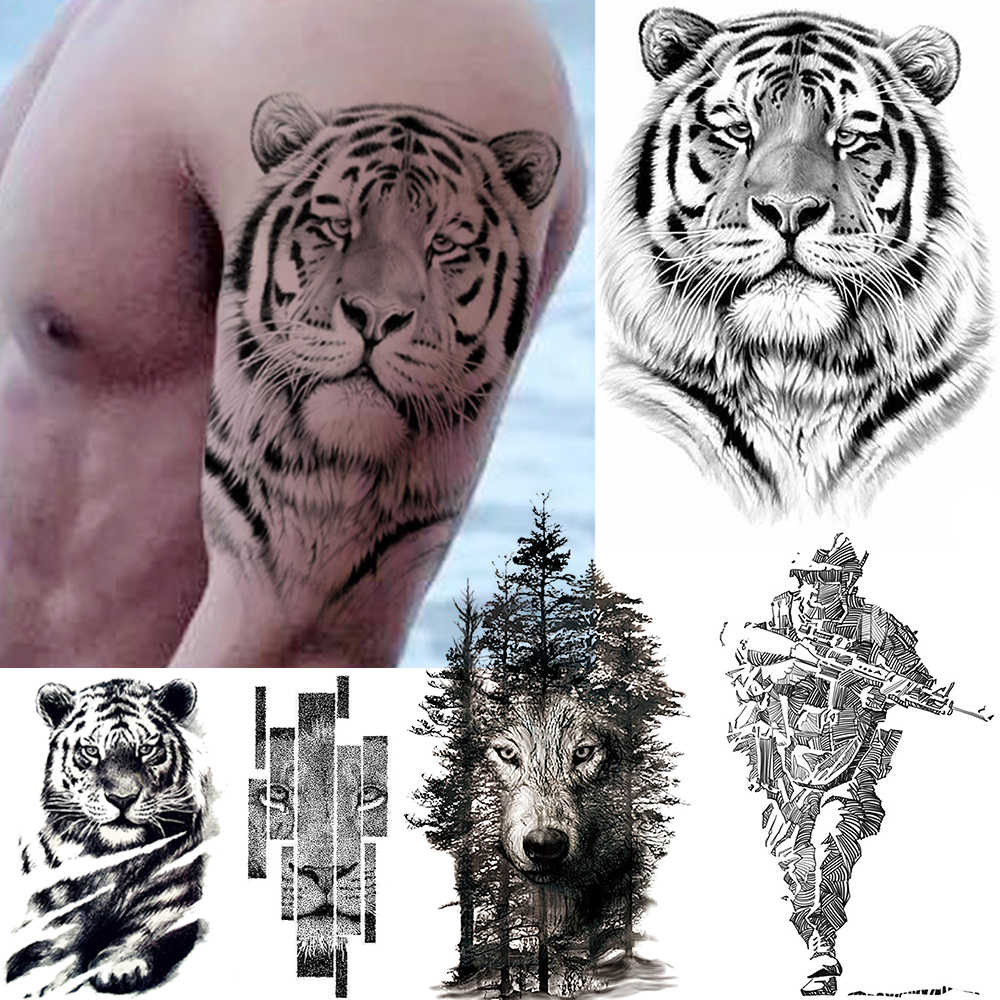 Big Black Tiger Tattoos Fake Men Wolf Leopard Tatoos Waterproof Large Beast Monster Body Arm Legs Tattoos Temporary Paper Cover
