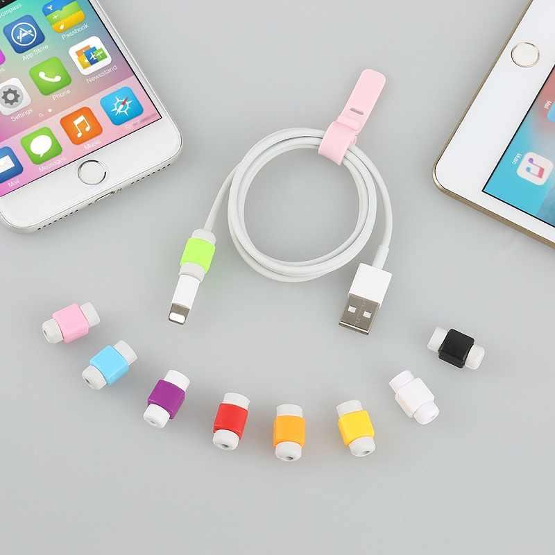 1Pce Mini sevimli silikon USB kablosu kulaklık koruyucu plastik kordon koruma tel kapak sarıcı Iphone Huawei Xiaomi Samsung