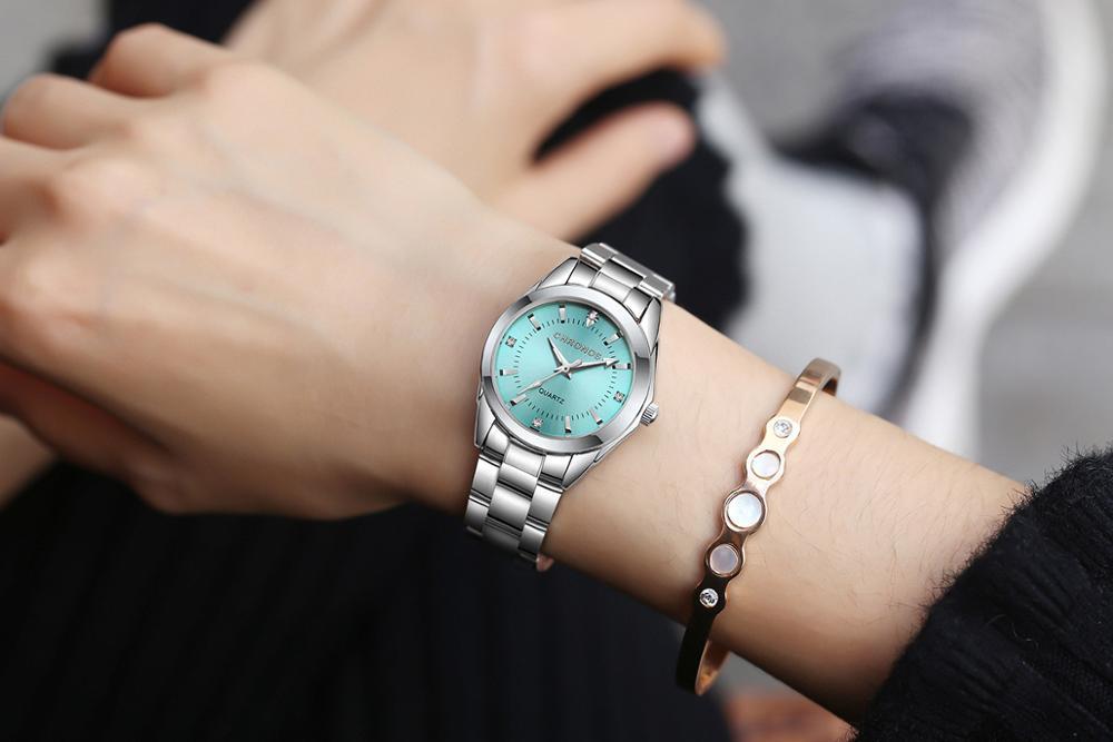 CHRONOS Women Stainless Steel Rhinestone Watch Silver Bracelet Quartz Waterproof Lady Business Analog Watches Pink Blue Dial 4
