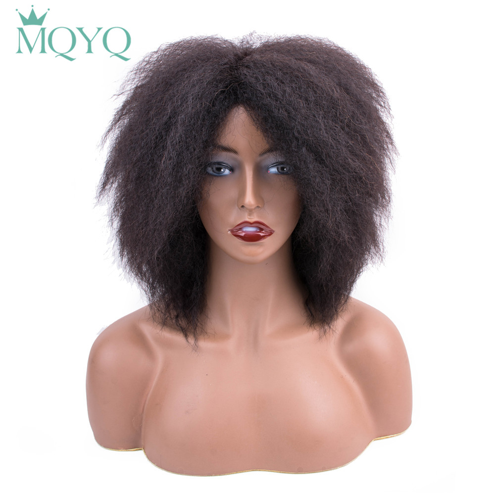 MQYQ Afro Yaki Straight Wig Human Hair Wigs Brazilian Non-Remy Hair Human Hair Wigs For Women Black Pre Plucke