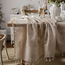 Polyester and Linen Plain Tablecloth With Tassels Round Table Dining Table Household Rectangular Table Cloth