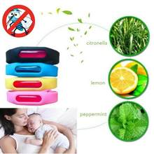 Mosquito Repellent Bracelet Silicone Baby Wristband Plant Essential Pink, Blue, Black, Watermelon Red Oil(China)