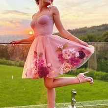 Homecoming-Dress Flower Cocktail Pink Sweetheart for Party Mini Skirt Spaghetti-Strap