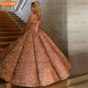 Image 2 - Sparkly Pink Evening Dresses 2020 Sweetheart Sequined Off Shoulder Ball Gown Formal Dress Long Banquet Custom Made Evening Gowns