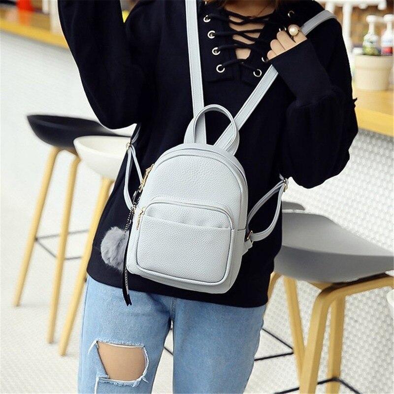 Миниатюрные рюкзаки из искусственной кожи для студентов, сумки с пушистыми шариками и подвесками на плечо, школьные мягкие модные маленькие дорожные ранцы для женщин, рюкзак-2