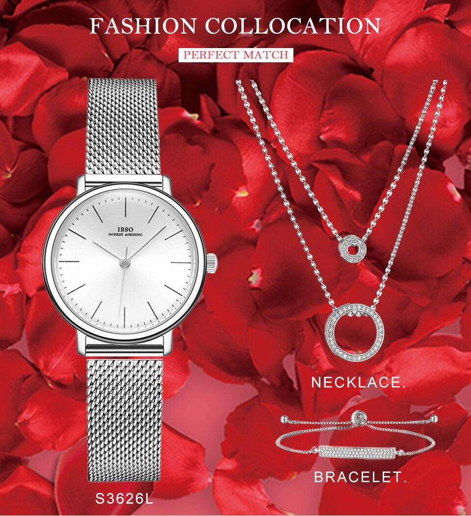 Ensemble bijoux Femme montre cristal Design Bracelet collier 4